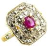 Bague en or avec rubis de 5 x 4mm et 6 diamant