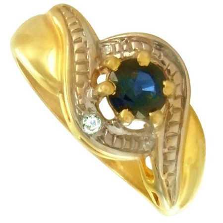 bague or bicolore avec saphir de 5 x 4 mm et diamant.
