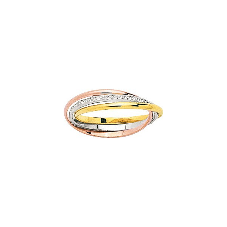 Alliance 3 or anneaux or jaune, blanc et rose - 1,5 mm