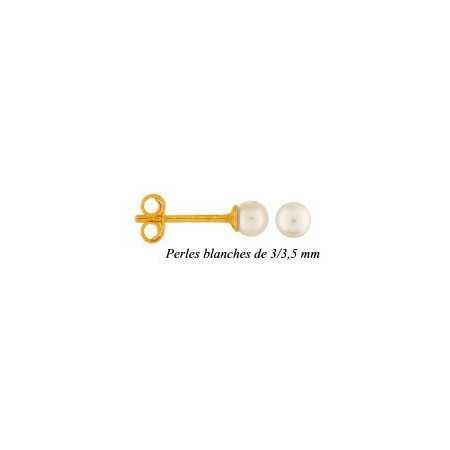 Clous d'oreilles or et perles de 3/3,5 mm.