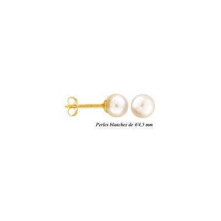 Clous d'oreilles or et perles de 4/4,5 mm.
