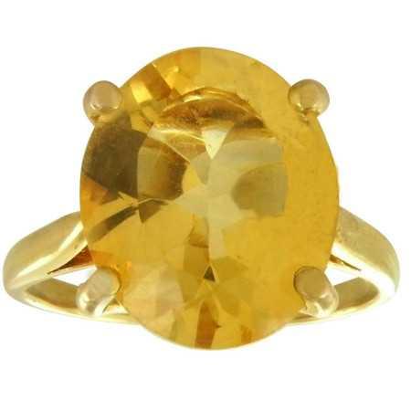 Bague or et grosse citrine ovale de 10 x 12 mm