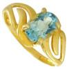 Bague or et topaze bleue ovale de 7 x 5 mm