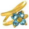 Bague or et fleur de topaze bleue
