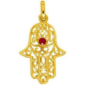 Pendentif main de Fatima or avec rubis