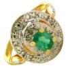 Bague or, émeraude de 5 x 4 mm et diamant