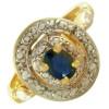 Bague or, saphir de 5 x 4 mm et diamant
