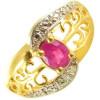 Bague or, rubis ovale et diamant