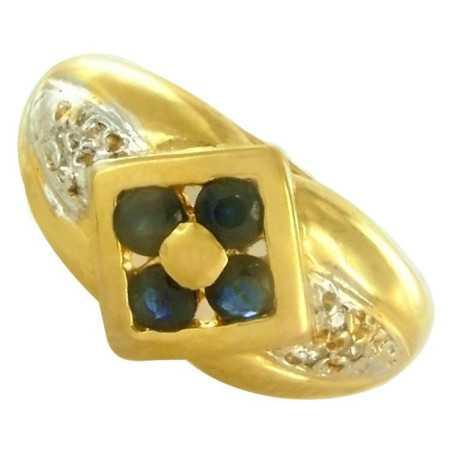 Bague or avec saphirs et diamants