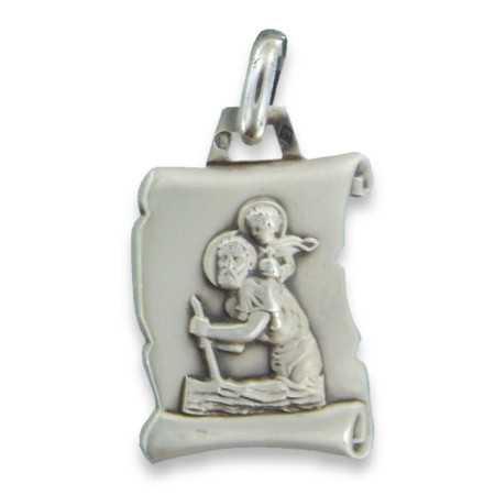 Médaille parchemin Saint Christophe en argent.