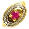 Bague or, rubis ovale et diamants