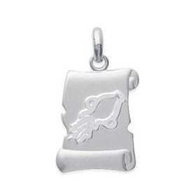 Pendentif zodiaque parchemin brossé Verseau en argent