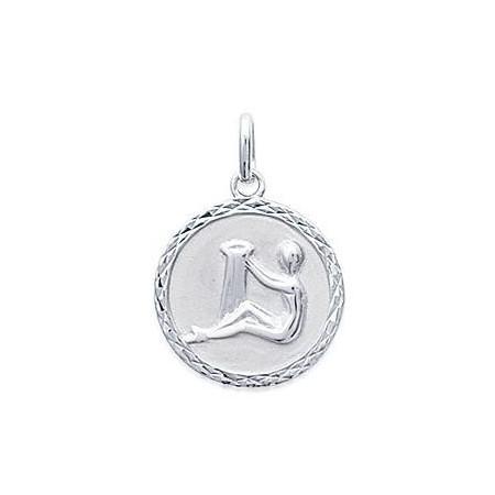 Médaille zodiaque Verseau en argent