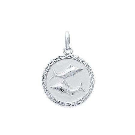 Médaille zodiaque Poissons en argent
