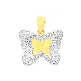 Pendentif papillon en or jaune et cristal