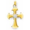 Pendentif croix en plaqué or avec oxyde de zyrconium