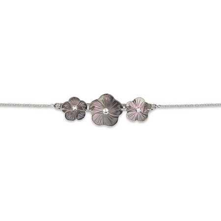 Bracelet argent trilogie de fleurs de nacre