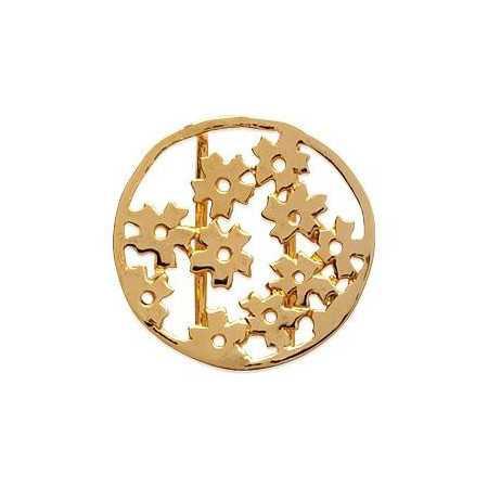 Pendentif fleurs stylisées plaqué or
