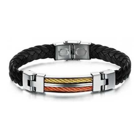 Bracelet pour homme cuir et acier