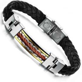 Bracelet pour homme cuir et acier cuivré et doré