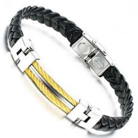 Bracelet pour homme cuir, câbles doré