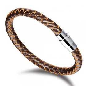 Bracelet pour homme cuir tressé marron