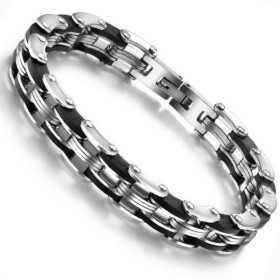 Bracelet pour homme en acier et céramique noir