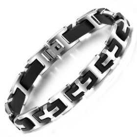 Bracelet pour homme en acier et céramique croix