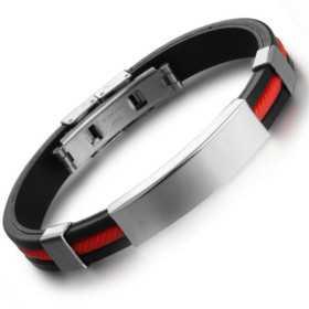 Bracelet pour homme caoutchouc rouge et noir