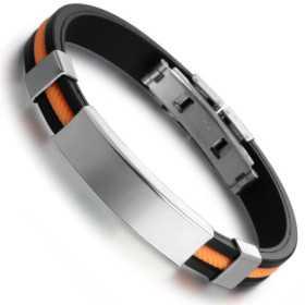 Bracelet pour homme caoutchouc orange et noir