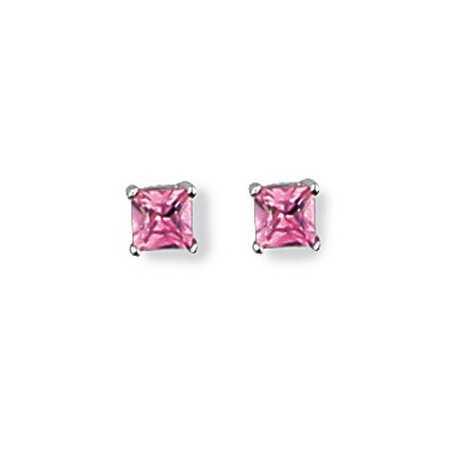 Clous d'oreilles en argent et oxydes carré rose