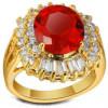 Grosse bague plaqué or pierre couleur rubis