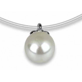 Collier argent pendentif perle blanche