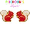 Ecureuils laqués orange et balnc en clous d'oreilles or pour bébé