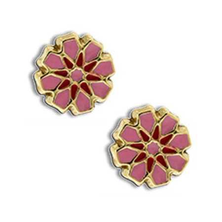 Clous d'oreilles or avec fleurs roses