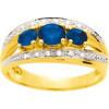 Bague or jaune avec saphirs de 0,90 ct et diamants.