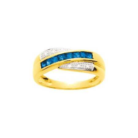Bague or jaune avec saphirs de 0,56 ct et diamants.