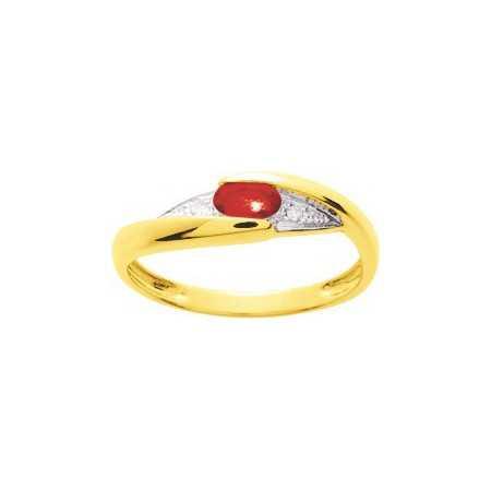 Bague or jaune avec rubis de 0,30ct et diamants.