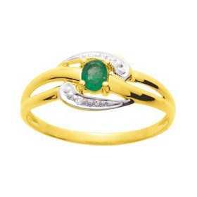 Bague or avec émeraude de 0,16ct et diamants.