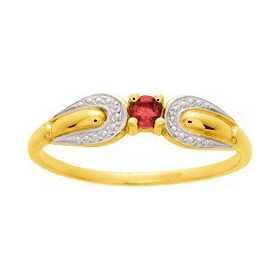 Bague or jaune avec rubis