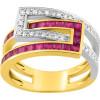 Bague or jaune avec rubis de 1,15ct et diamants.