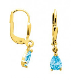 Boucles d'oreilles or avec topazes bleue 2 x 0,4 cm