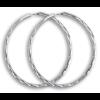 Maxi-créoles en argent diamanté de 4 cm.