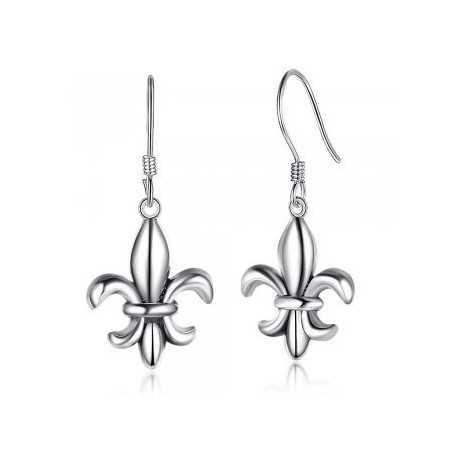 Boucles d'oreilles pendantes fleurs de lys.