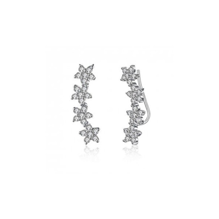Boucles d'oreilles en argent et oxyde de zirconium.