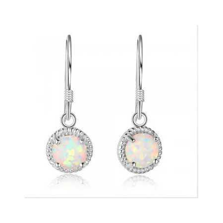 Boucles d'oreilles argent avec opales synthétiques