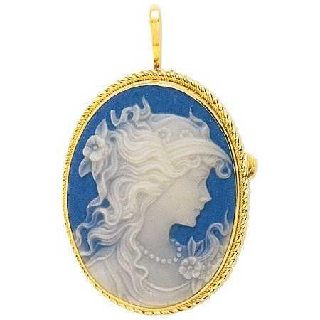 Pendentif / Broche en or avec camée bleu