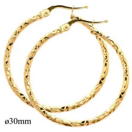 créoles en or 9k de 3 cm de diamètre