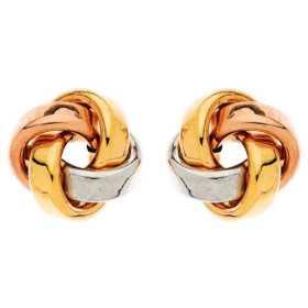 Boucles d'oreilles boutons noeuds 3 ors
