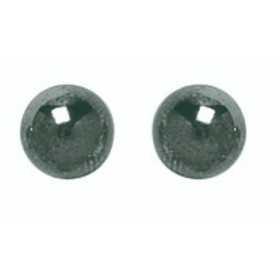 Clous d'oreilles or 750 avec boules hématite 6 mm